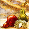 pear and cheese still life tile