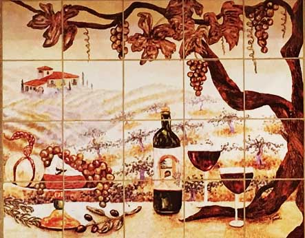 vineyard mural on porcelian tile