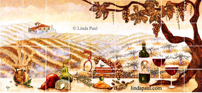 the Vineyard tile mural backsplash