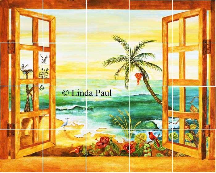 Florida tile mural backsplash tiles palm tree art tiles for American tropical mural