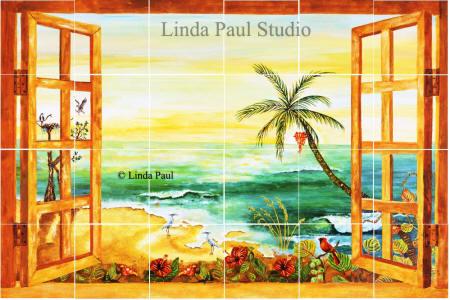 Florida Tile Mural Backsplash Tiles Palm Tree Art Tiles