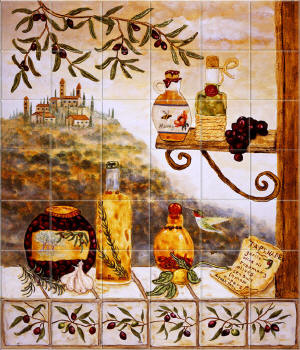 Ceramic tile murals for kitchen and bath backsplashes