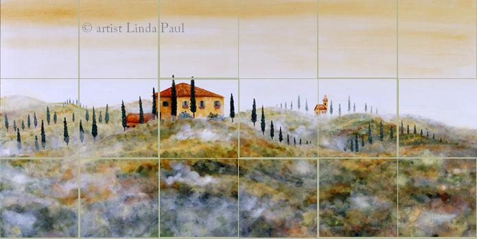 kitchen backsplash of Tuscan Landscape