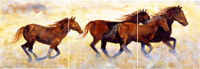 wild horses running border tiles