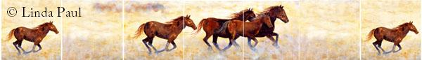 horse murals and backsplshes of wild horses
