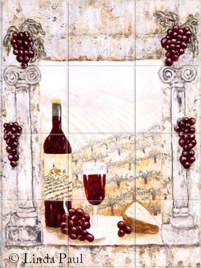 wine country tile backsplash mural
