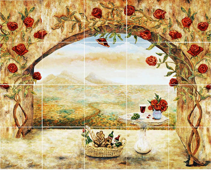 Wine and roses tile mural kitchen backsplash custom tile art for Custom mural tiles
