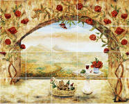 wine and roses kitchen mural