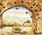 Wine and Roses tile mural