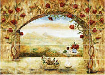 wine and roses back splash tile mural