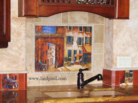 A Day in provence tile mural kitchen back splash over sink