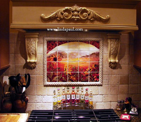 Backsplash Designs Western Tile Murals of Sunflowers - Sunflower Kitchen