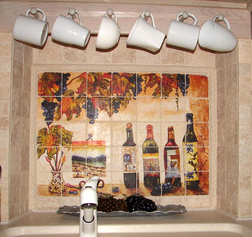 wine and Art mural installed in alcove over sink