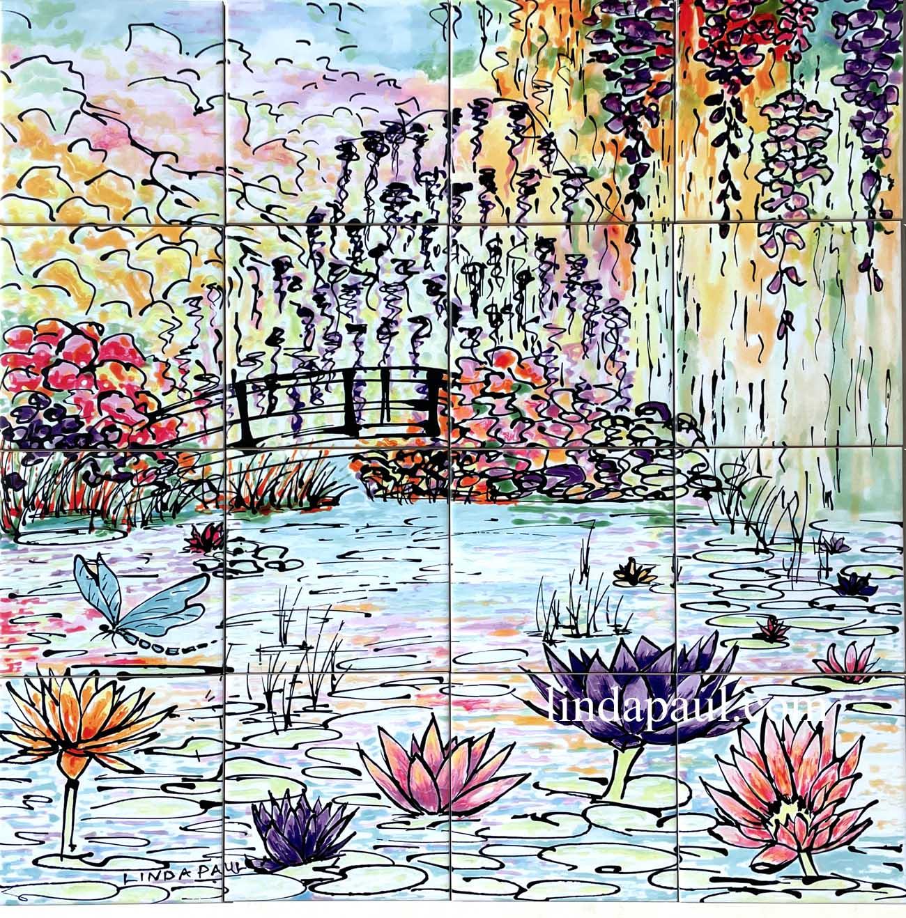 Monet Water Lily Garden Tile Mural Kitchen Backsplash