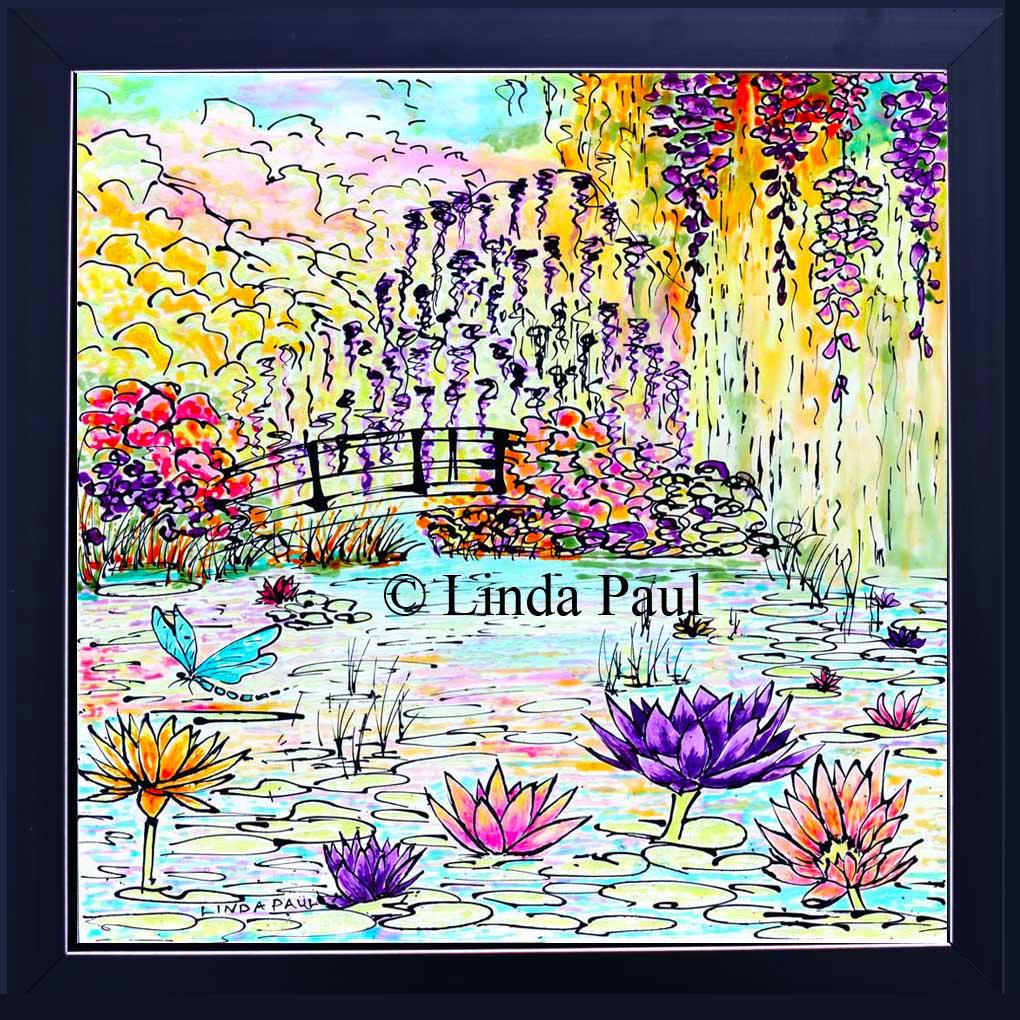 Monet water lily garden tile mural kitchen backsplash framed monet tile dailygadgetfo Gallery