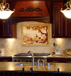 vineyard backsplash with cherry cabinets