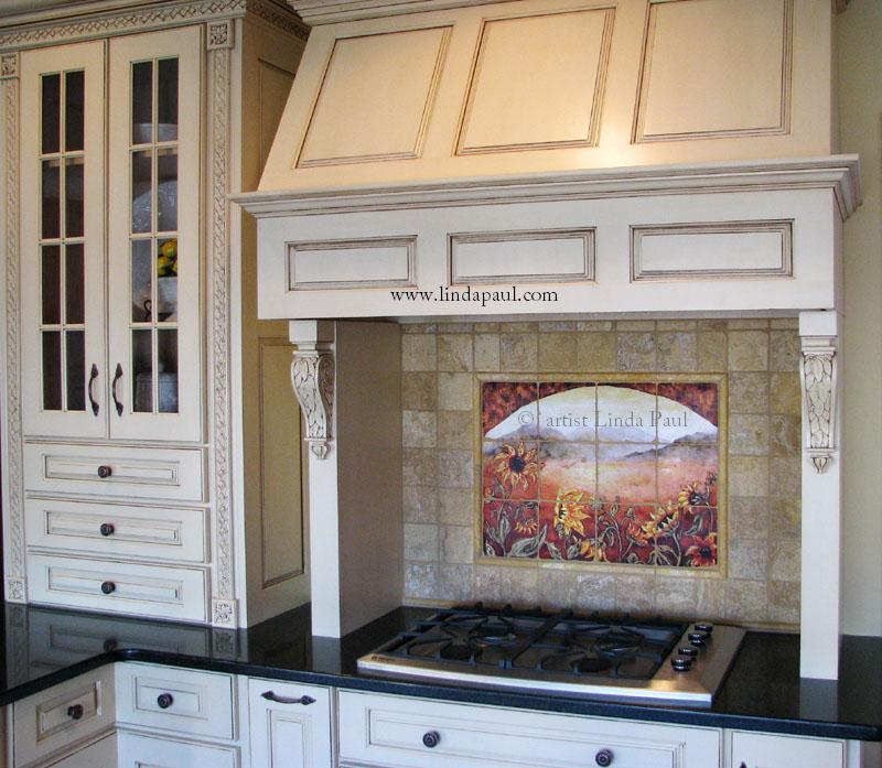 French Country Kitchen Backsplash Sunflower