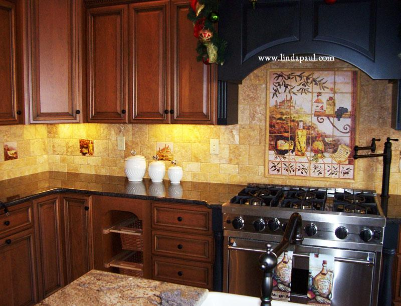 Tuscan backsplash tile murals tuscany design kitchen tiles for Italian kitchen pics