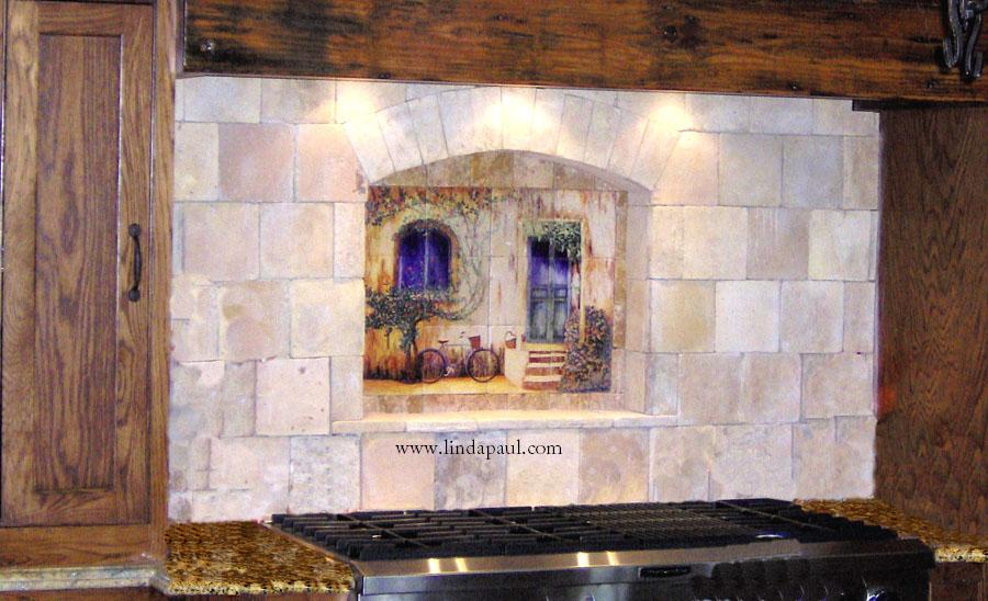Tile wall murals and backsplashes of france and french for Backsplash mural tile