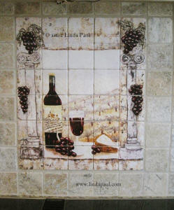 installation picture of wine country kitchen backsplash