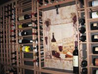 wine country backsplash installed in wine cellar