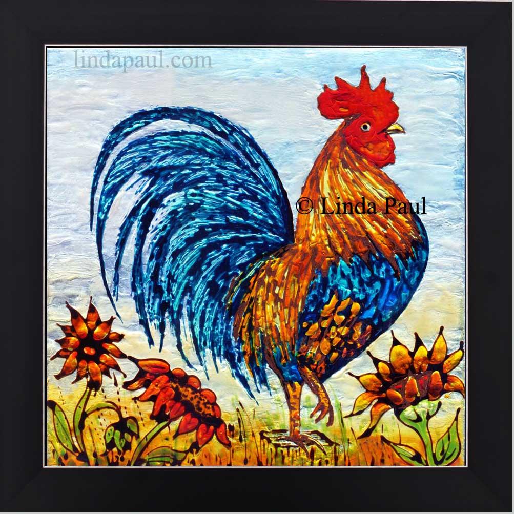 Rooster Decor - framed wall art or backsplash tile for kitchen