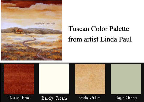 tuscan color pallete - paint colors of Tuscany