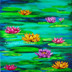 water lilies original art painting