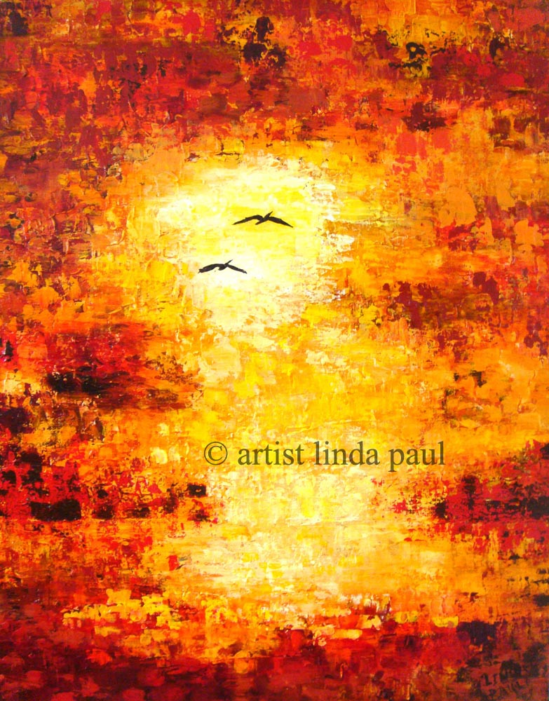 Comtemporary Artwork Paintings Of Sunset Landscape With Sea Birds