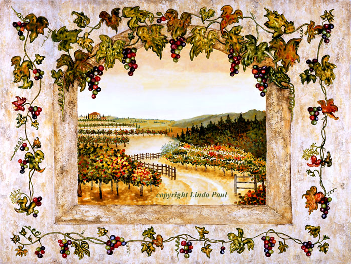 Wine Decor - grapes, vine, vineyard art on canvas and tile