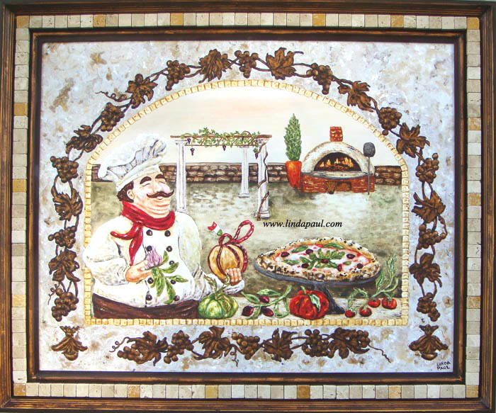 Italian Paintings Of Italian Pizza Kitchen With Chef