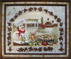 italian pizza kitchen in custom mosaic frame