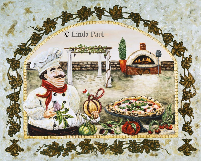 Italian Pizza Kitchen Canvas Art Print With Fat Italian Chef By Artist Linda Paul