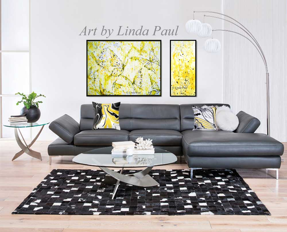 Yellow wall decor art butterfly painting