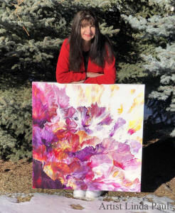 artist Linda Paul with painting