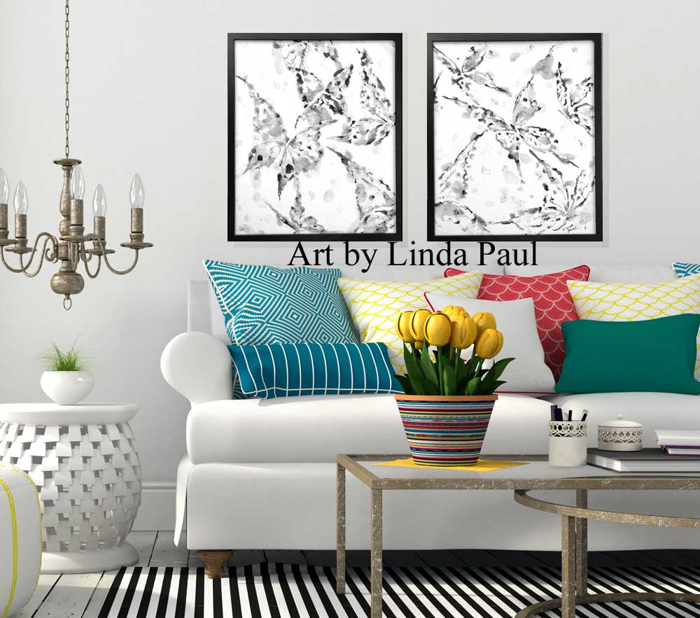 Black and white art painting wall art set of 2 - Wall paintings for living room ...