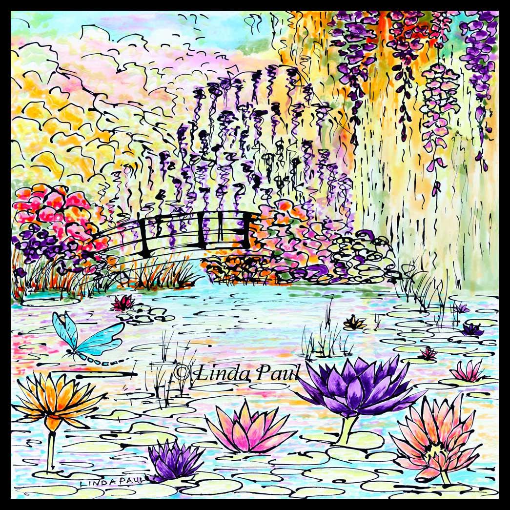 Framed Canvas Art Monet Garden Water Lilies