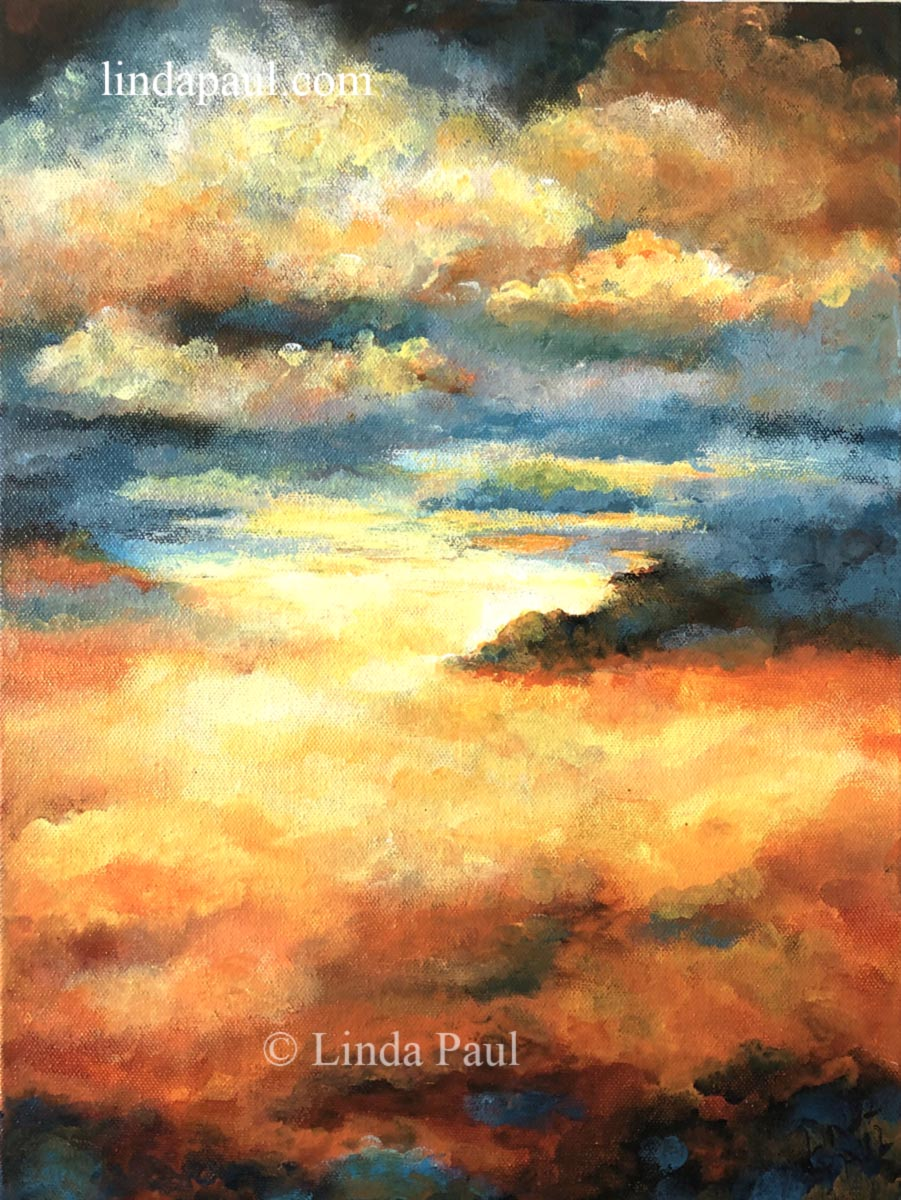 Acrylic Landscape Paintings Beautiful Clouds And Sunset Sky Art