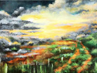 sunset clouds lanscape painting