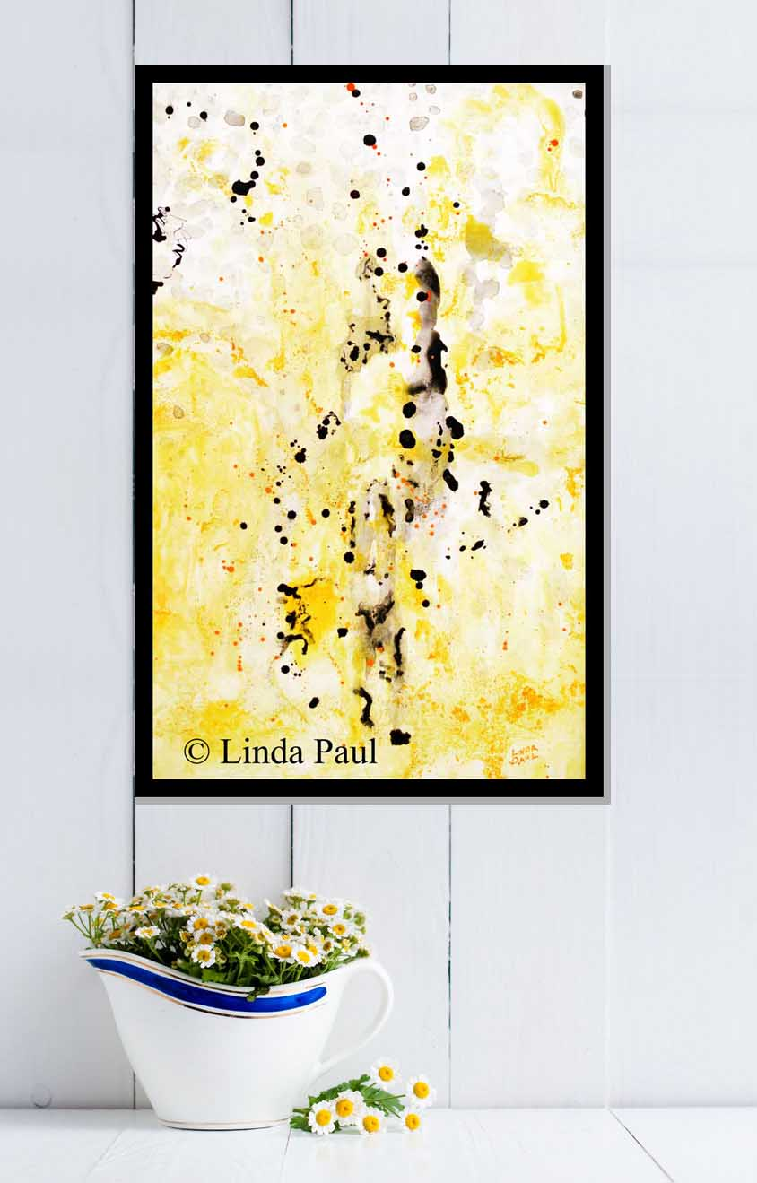 Abstract Art - original painting in yellow black white grey