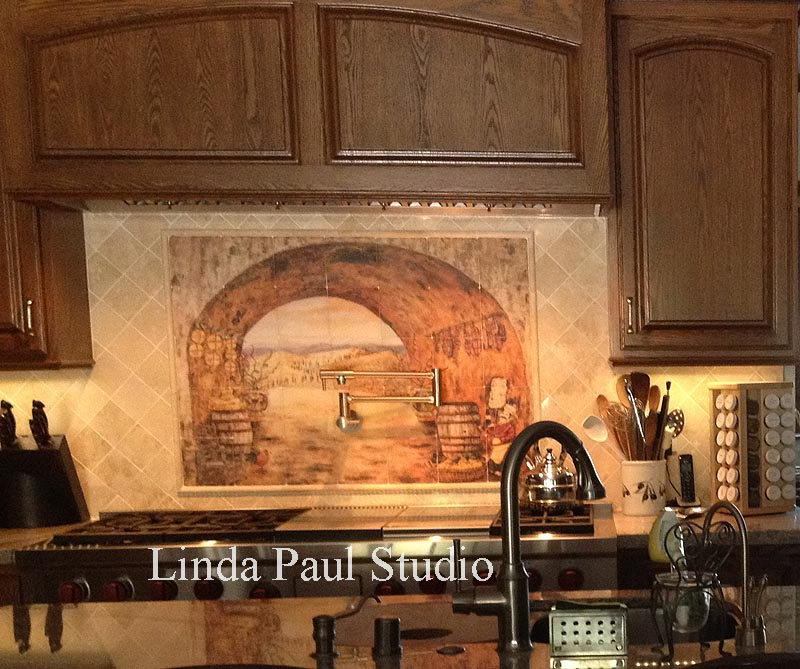 Everything Tuscany ceramic tile mural backsplash