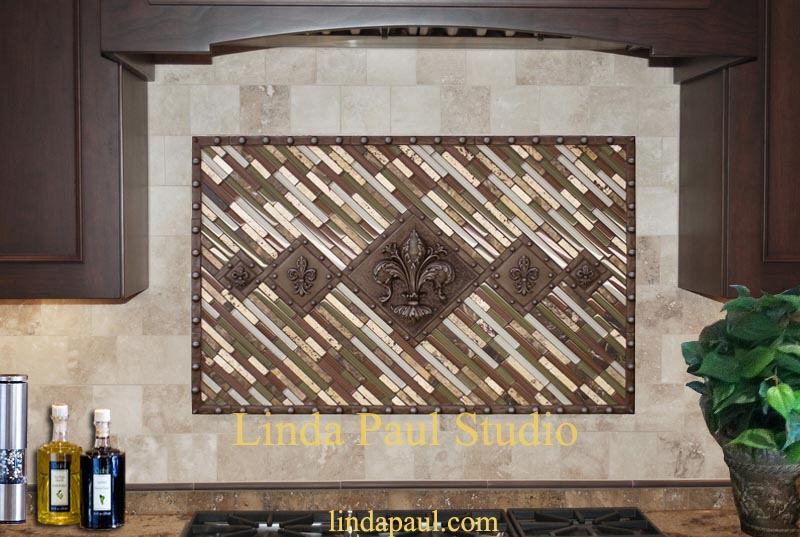 5 fleur de lis contemporary mosaic stiks and studded metal Medallion
