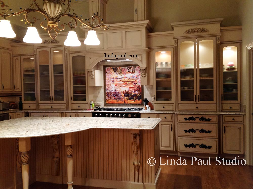 market day tile kitchen backsplash mural by artist linda paul