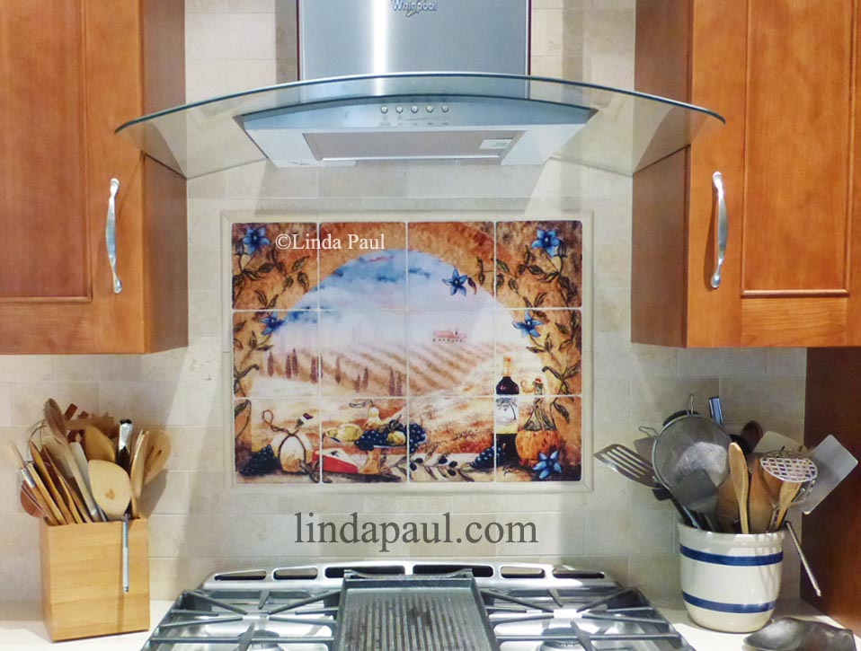 Italian tile murals tuscany backsplash tiles Italian marble backsplash