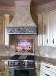 tuscany arch  tile mural backsplash in medaiteranean kitchen