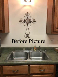 before and after picture kitchen backsplash