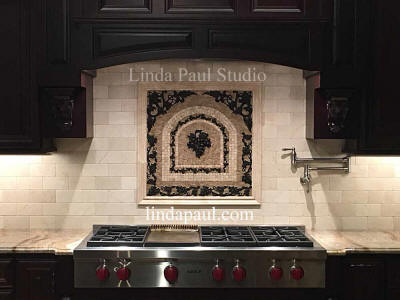 grape backsplash medallion with subway tile