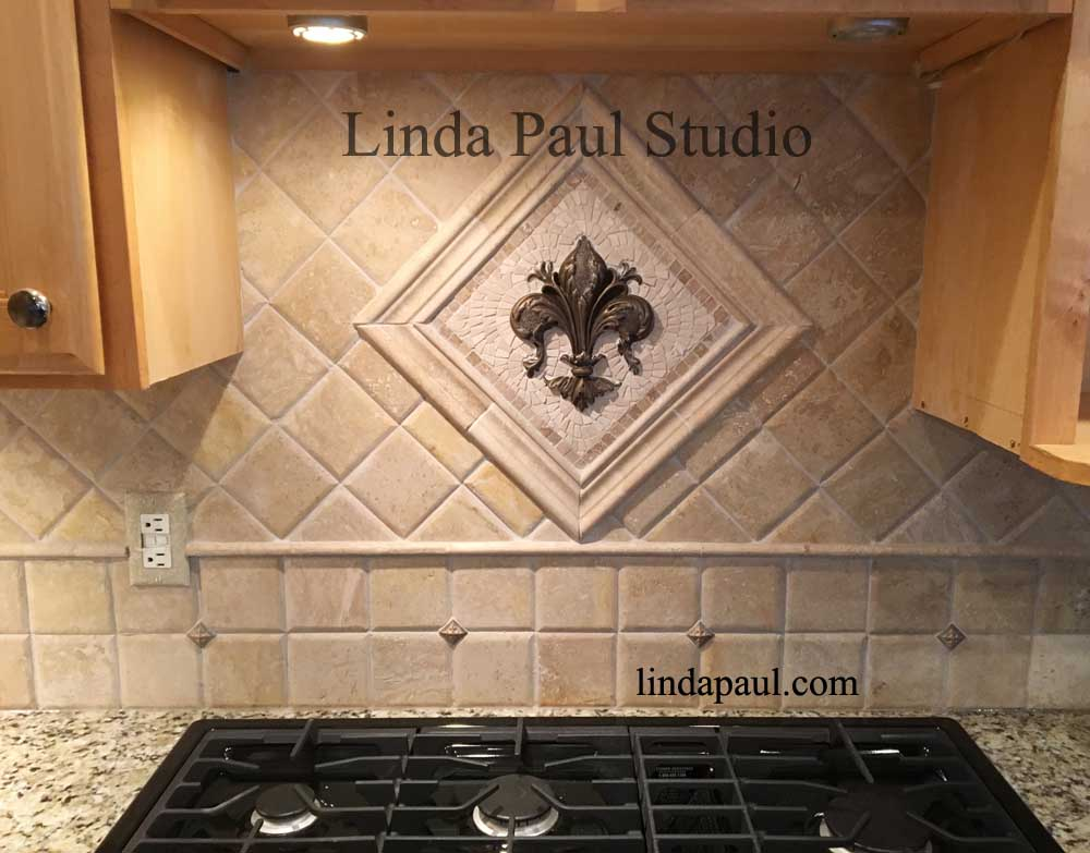 Travertine Kitchen Backsplash With Metal Accents
