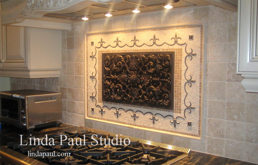 Kitchen backsplash pictures ideas and designs of backsplashes for Custom mosaic tile mural