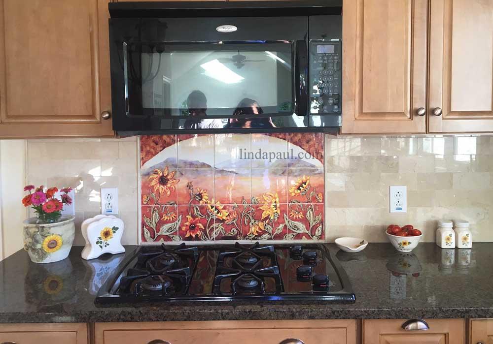 Sunflower Kitchen Decor Tile Murals Western Backsplash